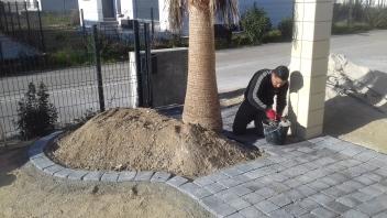 Pose pavé au mortier sur sable